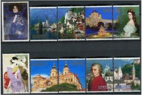 日邮·日本邮票信销·樱花目录编号C2068 2009 日本奥地利交流年 绘画建筑全套10枚