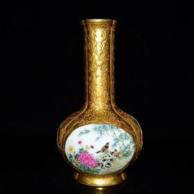 清乾隆御制珐琅彩鎏金开光花鸟纹长颈瓶