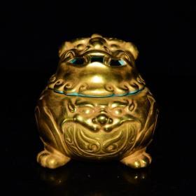 清乾隆年鎏金金蟾纹薰炉