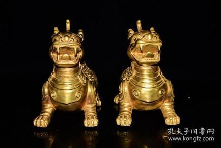 清雍正年全金雕刻走兽纹香薰炉