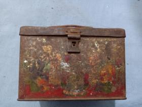 (箱7)清代 铁制 人物 广告盒,品相差,尺寸12*7.5*7.5cm