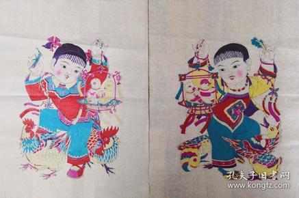 精美白绵纸��!80年代印改革版画潍县杨家埠木版年画社出品*儿童戏禽一对
