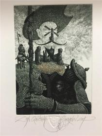 保加利亚乔丹诺夫(Julian Jordanov)藏书票版画原作《唐吉可德》尺寸看图