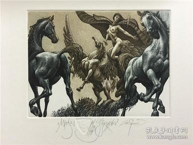保加利亚乔丹诺夫(Julian Jordanov)藏书票版画原作《沉思》尺寸看图