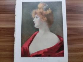 【现货 包邮】1890年彩色平版印刷画《金发红衣女郎》(In Gedanken) 尺寸约41*29厘米  (货号601112)