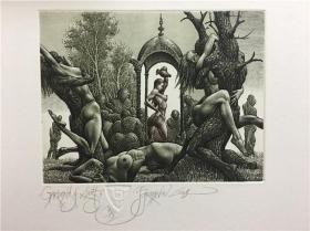 保加利亚乔丹诺夫(Julian Jordanov)藏书票版画原作《性欲花园》尺寸看图