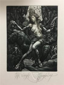 保加利亚乔丹诺夫(Julian Jordanov)藏书票版画原作《致命的女人》尺寸看图
