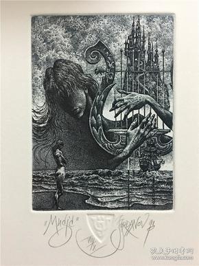 保加利亚乔丹诺夫(Julian Jordanov)藏书票版画原作《音乐s》尺寸看图