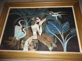 丁绍光布面油画少女与鹤一幅(无款)尺寸约画框108cmX77cm 画芯90cmX60cm