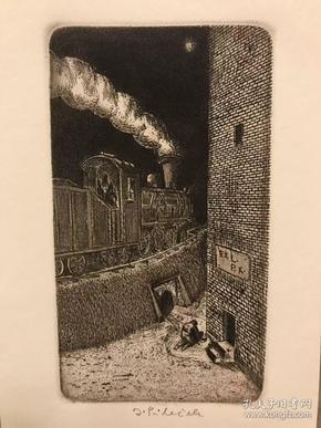 《火车》J.Pilecek 酸刻铜版画捷克铜版家 签名 小版画