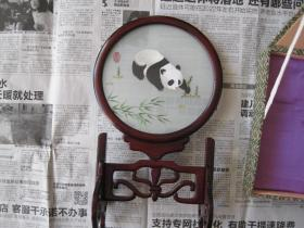 日本回流的精美至极的苏绣《小熊猫》带原盒包装(35 × 22 × 22 cm)