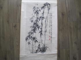 杨柳青书画社印制《郑板桥书画精品 》 竹幽兰图 水墨 老轴画