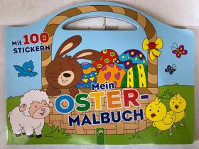 平装 带100张 贴纸 mein oster malbuch  schwager steinlein 绘画 我的复活节着色书 封面德语 内页无字