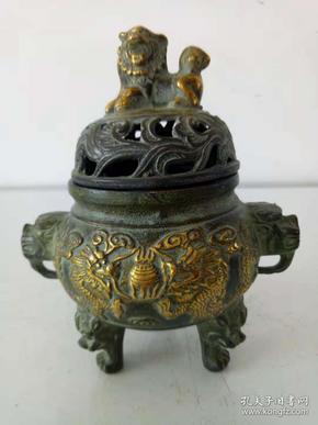 纯铜鎏金香炉·熏香炉·家居精美摆件·实物拍摄·详情见图