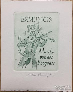 比利时铜版藏书票猫男爵