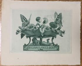 德国早期铜版藏书票小天使和蒲公英
