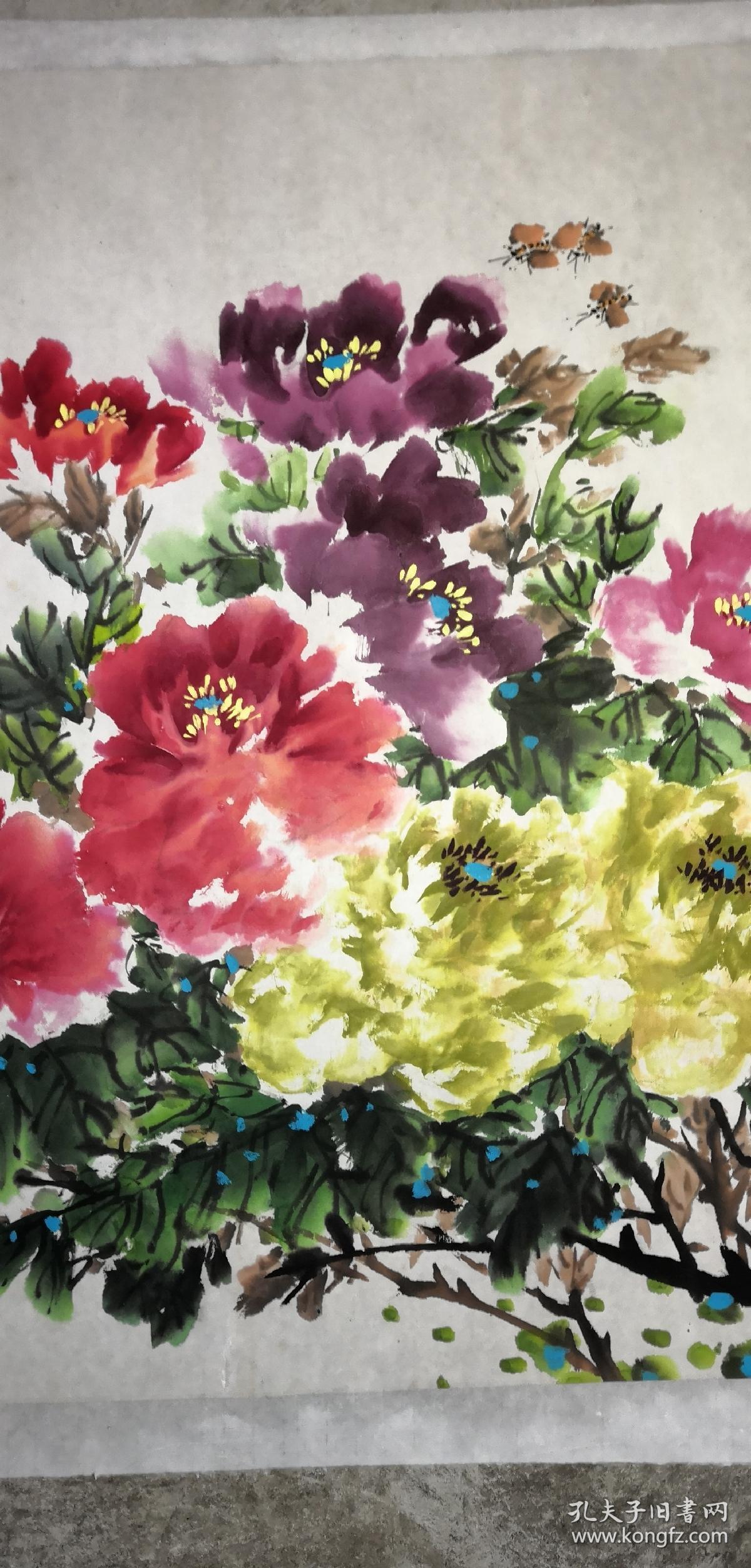 安徽著名老画家(吴景琳)68*137……牡丹图片