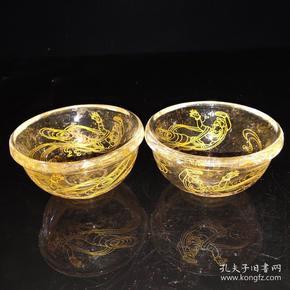 古寺出土水晶舍利碗一对  描金仙女图案尺寸如图,重320克