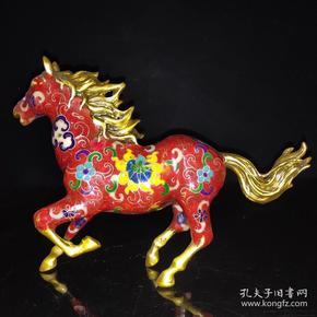 景泰蓝《马到成功》生肖马摆件尺寸如图,重770克