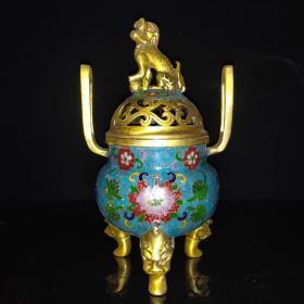 景泰蓝狮盖熏香炉摆件尺寸如图,重2490克