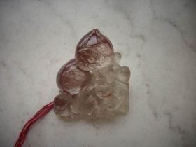 水晶雕【猴子,桃】手把件!有水草。5/6厘米