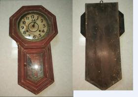 年底特价民国老古董八角形挂钟钟表包老怀旧地球马牌