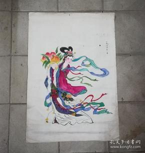 麻姑献寿*画工精美的文革手绘水彩画