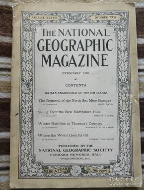 National Geographic February 1920 国家地理杂志 1920年2月号  原版进口 满百包邮