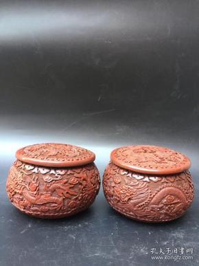 旧藏漆器精雕云龙围棋罐子一对,底部有工匠名号,高约10厘米,宽约12厘米,