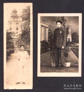 五十年代重庆万县钟楼背景照,以此钟楼做的老照相馆布景照,两张合售
