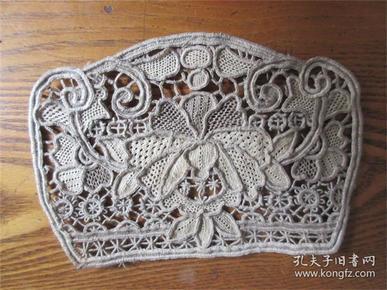 民俗绣工精美茶杯垫牡丹花吉祥图案老绣品绣花片包老怀旧布花网花