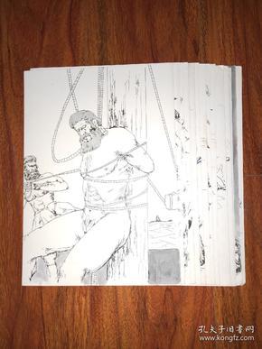 保真画稿:外国名著 插图连环画 手绘原稿 15张合售 /HG001
