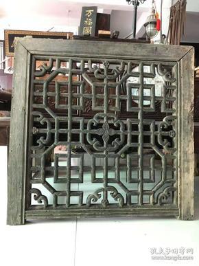 完整老花窗一片,独特精美,清代,现用于装饰挂件,非常完美,长83cm,高82cm。