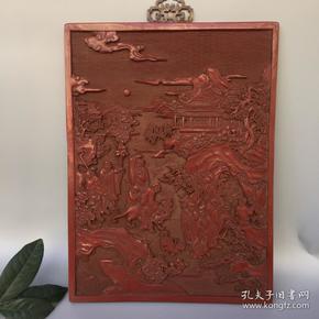 漆器挂匾 大清乾隆年制剔红漆器浮雕挂牌