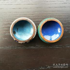 铜胎 掐丝 景泰蓝 小罐 2个合售 4.5cm