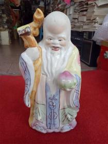 怀旧收藏 八十年代摆件陶瓷摆件 寿星老人 造型慈祥福寿 收藏