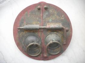 民国时期-从老门上拆下-黄铜【福禄】门环一对,厚实!长33厘米,宽32.5厘米。重6斤,插子是铁的