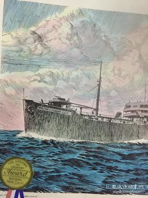 稀见1945年二战胜利号版画两张,保真包老,尺寸51×36,品相不错。第二次大战末期,胜利号加入英国太平洋舰队编入第57特混舰队参加了进攻日本的作战。