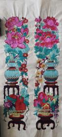 稀见精品!!!清代原版70年代印潍县杨家埠木版年画社*窗旁一对两张未裁开*77*36cm