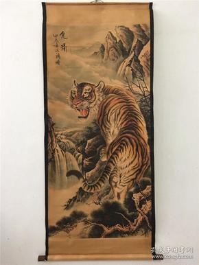 仿古字画 中堂画国画 风景动物画上山虎图家居装饰画仿古工艺画
