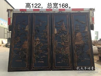 楠木挂匾一套,高浮雕,雕刻精细,包浆一流,品相如图,摆设佳品!高122cm,宽168cm。