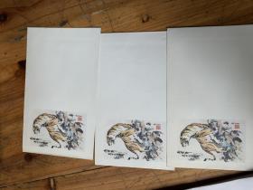 天津市邮电管理所洒金信封两种10枚,有兰花 竹子图案,花瓶图案一枚,86年信封3枚有老虎图案,