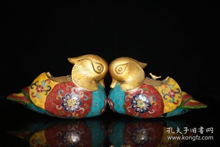 旧藏 景泰蓝手工掐丝珐琅彩《百年好合》鸳鸯摆件一对单个尺寸:高11.5厘米长20厘米宽8.5厘米,总重1895克