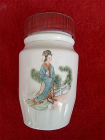 怀旧收藏 八十年代陶瓷水杯 古代仕女图案 高14cm最大直径8cm