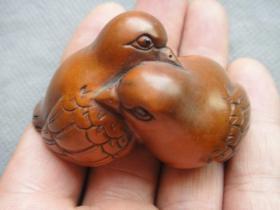 老黄杨木雕小鸟