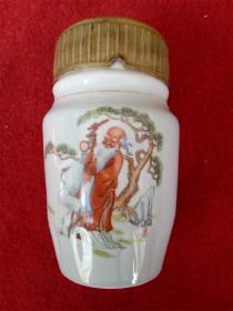 怀旧收藏 八十年代陶瓷水杯 松鹤延年 寿星图案高14cm最大直径8cm