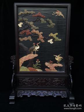 木胎漆器镶多宝黑檀木框插屏,细节如图