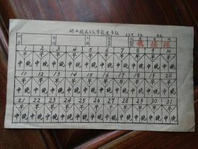 六十年代武汉市硚口技术工人学校进餐证一件,25厘米长。