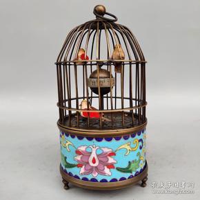 景泰蓝纯铜鸟笼机械表尺寸如图,重530克