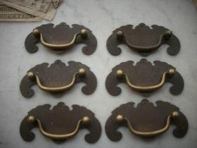 民国时期-蝙蝠形带工的铜拉手一套(6个)!9.5/4.6厘米